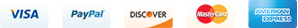 We accept VISA Master Card Discover AMEX and PayPal